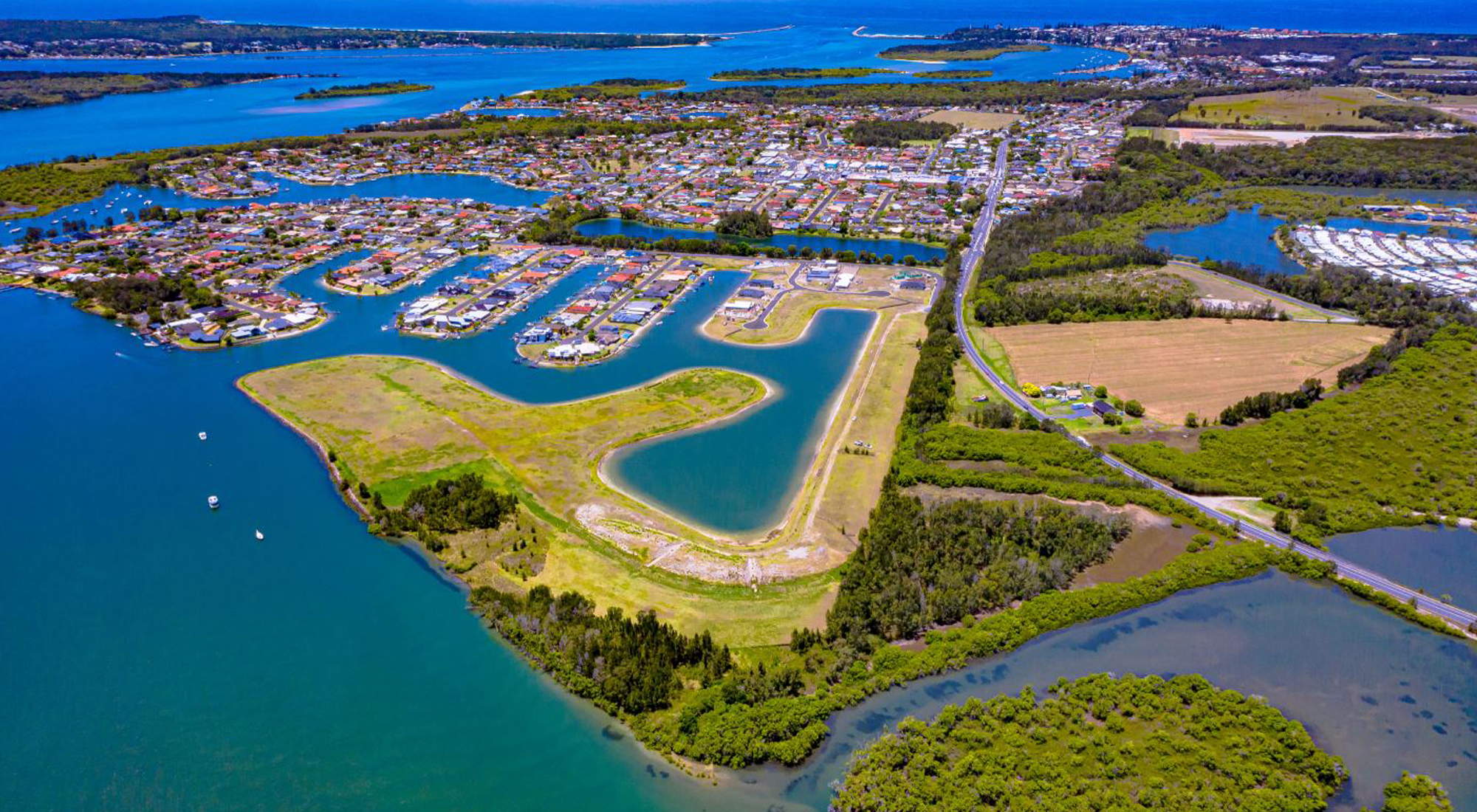 Aerial of Stage 2 Yamba Quays